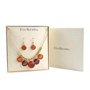 Kim Rogers Gold Tone Necklace and Earring Set
